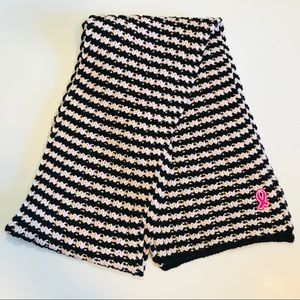 Accessories - Black and Pink Striped Thick Knitted Scarf